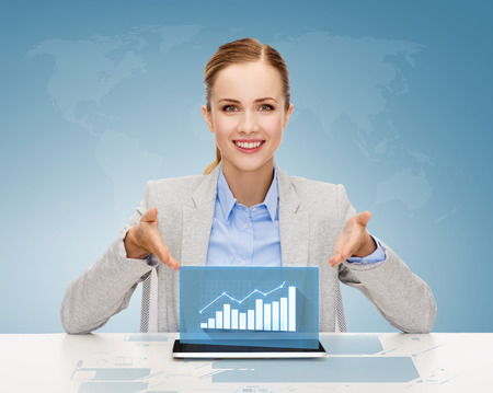 business, technology, internet and office concept - smiling businesswoman with tablet pc computer and increasing chart photo