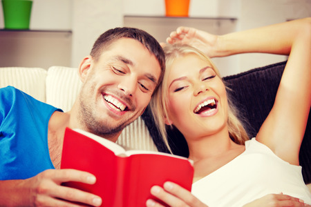 bright picture of happy couple with book photo