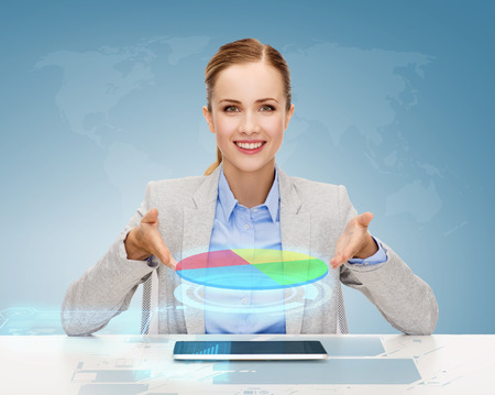 business, technology, internet and office concept - smiling businesswoman with tablet pc computer and pie diagram photo