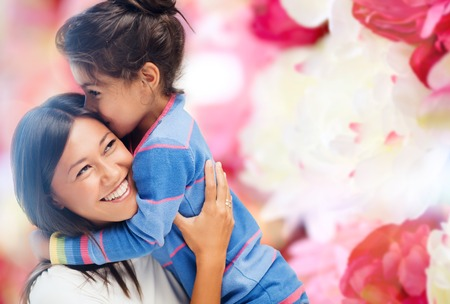 family, children and happy people concept - hugging mother and daughter Stock fotó