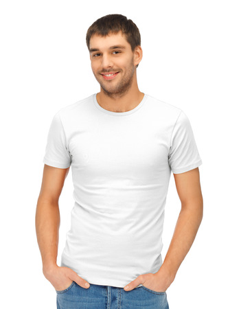 shirt template: clothing design and hapy people concept - handsome man in blank white shirt