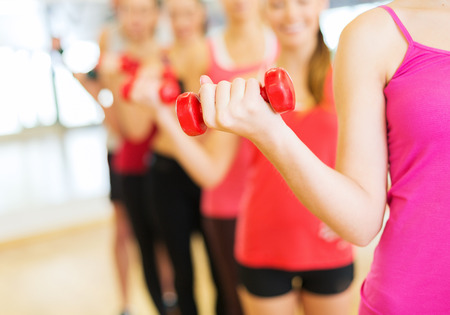 fitness, sport, training, gym and lifestyle concept - group of people working out with dumbbells in the gym photo