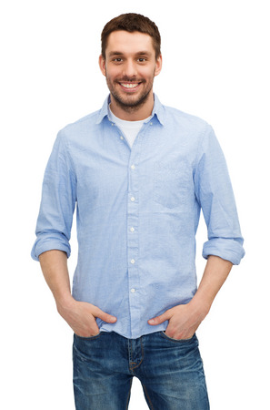 smiling young man: happiness and people concept - smiling man
