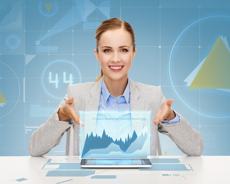 business, technology, internet and office concept - smiling businesswoman with tablet pc computer photo