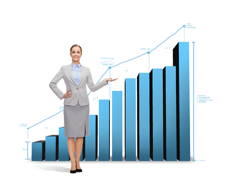 business and finances concept - smiling businesswoman showing growing chart photo