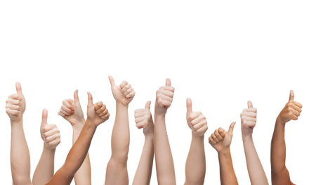 Geste et les parties du corps concept - des mains humaines montrant thumbs up Banque d'images - 27871367