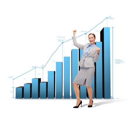 business and office concept - young happy businesswoman with hands up and growing chart on the back photo