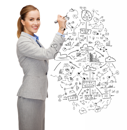 office, business and new technology concept - smiling businesswoman drawing big plan with marker photo