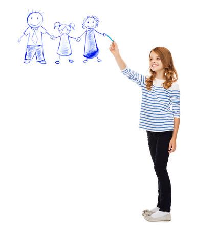 教育・学校・ ハッピー ・ ピープル コンセプト - 空気中の家族を描くかわいい女の子