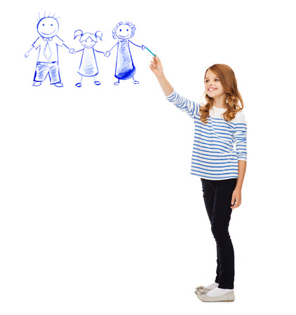 education, school and happy people concept - cute little girl drawing family in the air