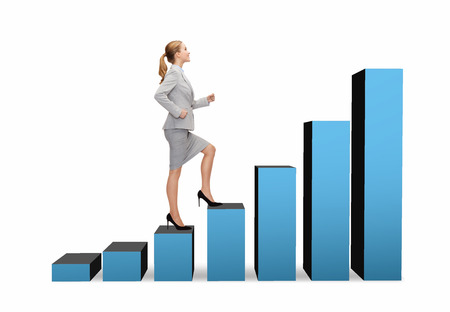 increasing: business and education concept - smiling businesswoman stepping on chart bar