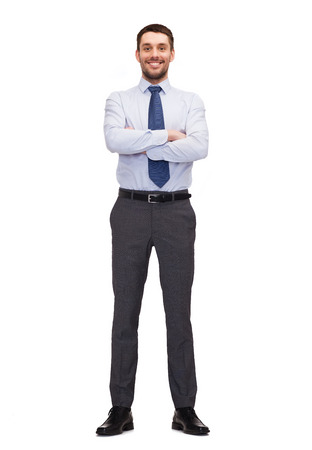 business and office concept - handsome buisnessman with crossed arms Stok Fotoğraf