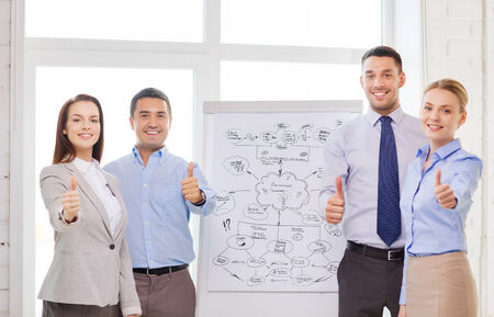business, education and office concept - business team with flip board showing thumbs up in office photo