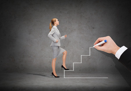stepping: business and education concept - smiling businesswoman stepping up staircase