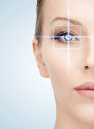 health, vision, sight, future technology concept - woman eye with laser correction frame photo