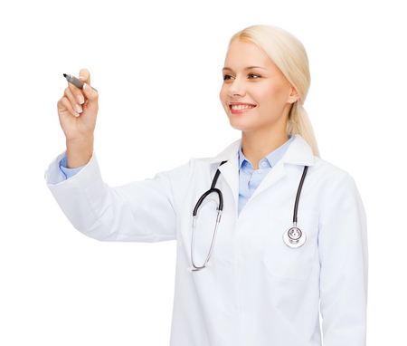 healthcare, medical and technology concept - young female doctor writing something in the air photo