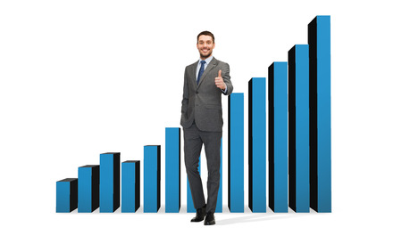 business, gesture and office concept - handsome businessman showing thumbs up with growing chart on the back photo