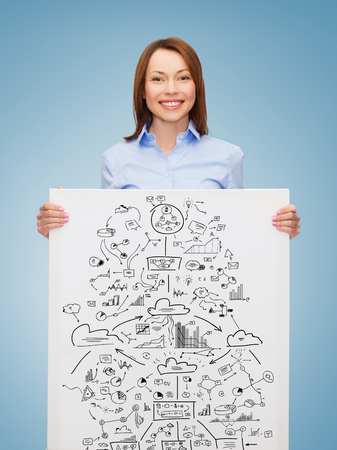 business, economics and education concept - friendly young smiling businesswoman with big plan on white board photo