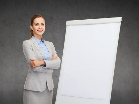 business, education and office concept - smiling businesswoman standing next to flip board photo