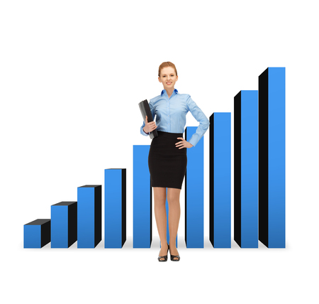 business and office concept - young smiling businesswoman with folder and growing chart on the back photo