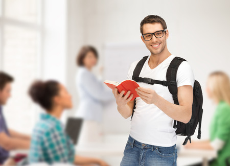 travel, vacation and education concept - travelling student with backpack and book photo