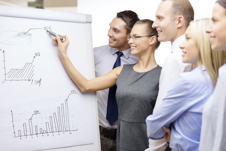 business and office concept - smiling business team with charts on flip board having discussion photo