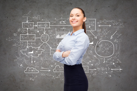 business and education concept - friendly young smiling businesswoman with crossed arms and big plan on the back photo