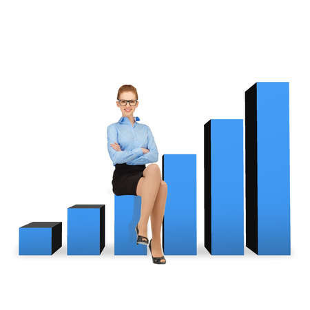 business and office concept - smiling businesswoman in eyeglasses sitting on a growing chart photo