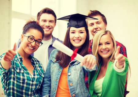 mba: education - happy girl in graduation cap with certificate and students