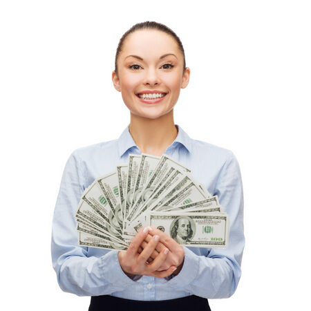 business and money concept - young businesswoman with dollar cash money photo