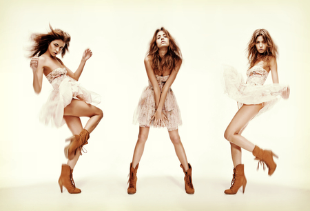 leggy girl: fashion and glamour concept - triple image of the same fashion model in different poses Stock Photo