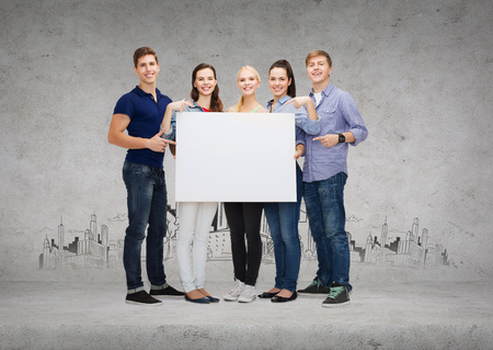 sales person: education, advertisement, sale and people concept - group of smiling students pointing at blank white board