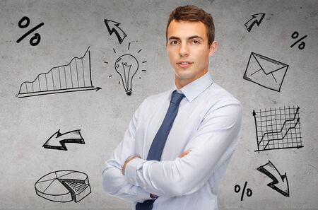 business and office, people concept - friendly young businessman photo