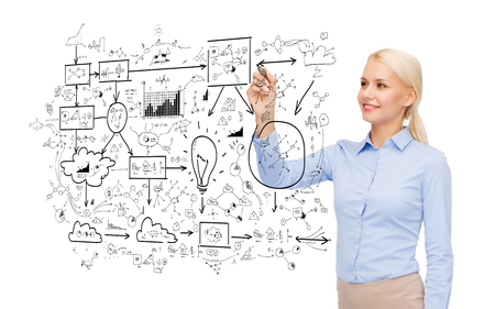 office, business and new technology concept - smiling businesswoman drawing big plan in the air with marker photo