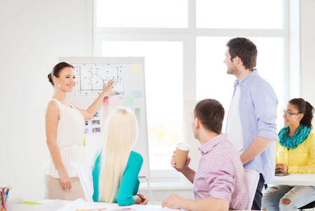 education, interior design and office concept - smiling interior designers having meeting in office photo