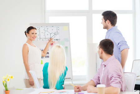 flipboard: education, interior design and office concept - smiling interior designers having meeting in office