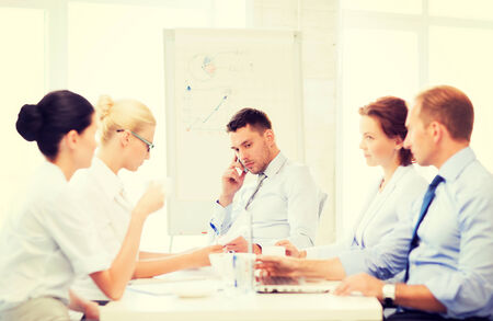 bad planning: stressed male boss on business meeting with team in office Stock Photo
