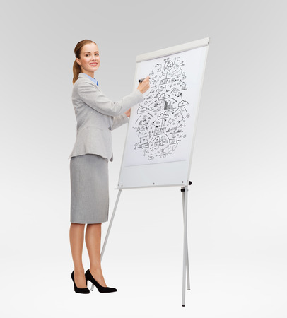 business, education and office concept - smiling businesswoman drawing big plan on flip board photo
