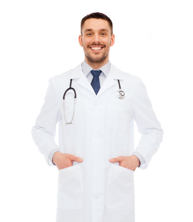 latin family: healthcare, profession and medicine concept - smiling male doctor with stethoscope in white coat over white background