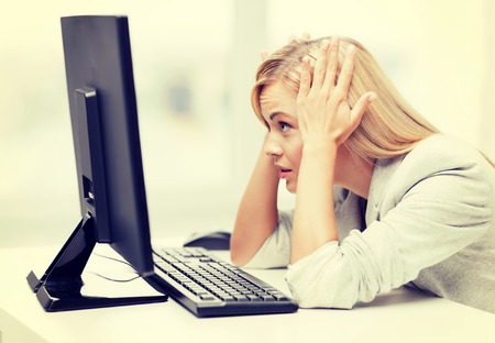 picture of stressed businesswoman with computer at work 版權商用圖片 - 29973173