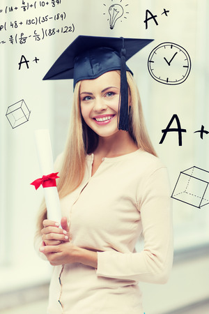 master degree: education and school concept - happy student in graduation cap with certificate