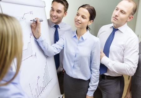 Concepto de negocio y la oficina - sonriendo equipo del negocio con gráficos a bordo flip tiene discusión Foto de archivo - 30389859