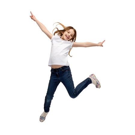 air jump: happiness, activity and child concept - smiling little girl jumping