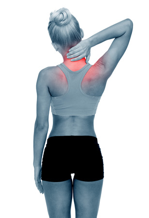 pain: fitness, healthcare and medicine concept - sporty woman touching her neck