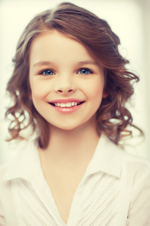 beautiful preteen girl: picture of beautiful pre-teen girl at home Stock Photo
