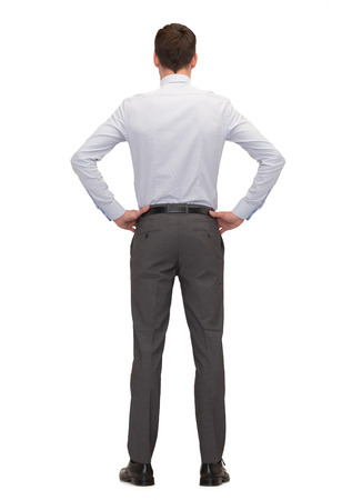 white shirt: business, education, people and office concept - businessman or teacher from back