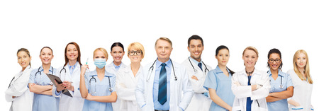 medicine and healthcare concept - team or group of doctors and nurses
