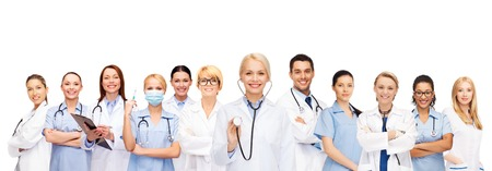 healthcare team: medicine and healthcare concept - team or group of female doctors and nurses