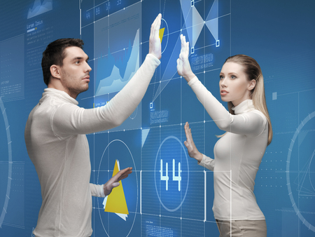 future, technology, business, education and people concept - man and woman working with virtual screen photo