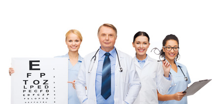 healthcare, vision and medicine concept - smiling eye doctors and nurses with eye exam chart, glasses and clipboard photo